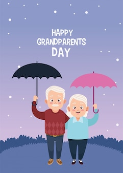 Happy grandparents day card with old couple lifting umbrellas
