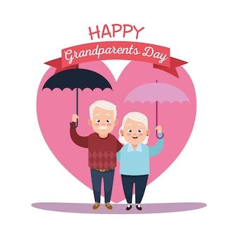 Счастливая дневная карта бабушек и дедушек с пожилой парой, поднимающей зонтики