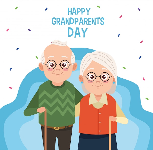 Happy grandparents day card with old couple
