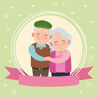 Счастливая дневная карта бабушек и дедушек с пожилой парой