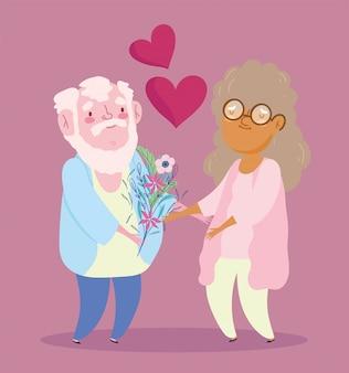 Счастливая открытка для бабушки и дедушки