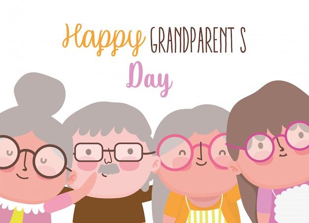 행복 한 조부모의 날 만화 프리미엄 벡터