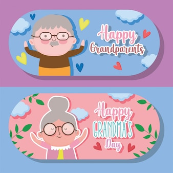 Happy grandparents day cartoon