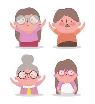 행복 한 조부모의 날 만화