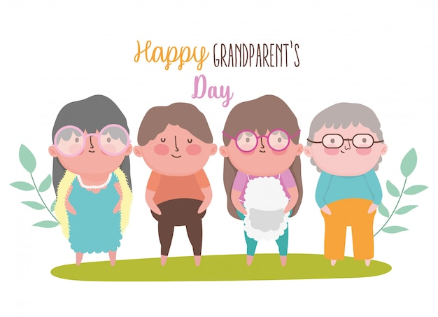 Happy grandparents day cartoon