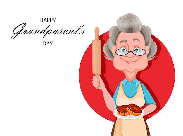 幸せな祖父母の日。かわいい笑顔の老婆