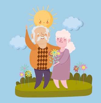 Happy grandparents day. elderly couple in the park