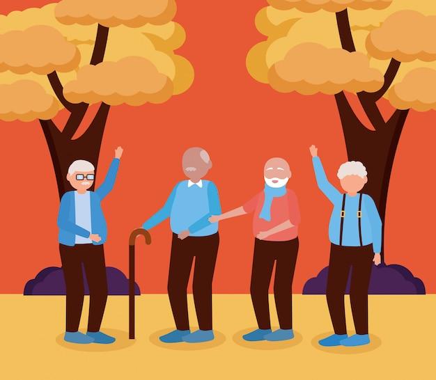 행복 한 조부모의 날 평면 디자인