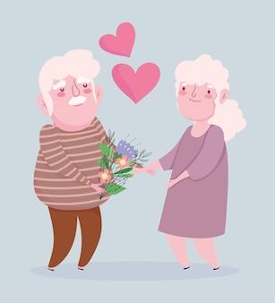 꽃 일러스트와 함께 행복한 조부모의 날, 할아버지와 할머니