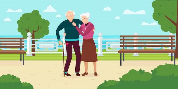 С днем бабушки и дедушки. бабушка и дедушка гуляют в парке вектор