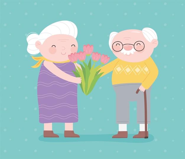 행복 한 조부모의 날, 꽃과 할아버지와 할머니 지팡이 문자 만화 카드