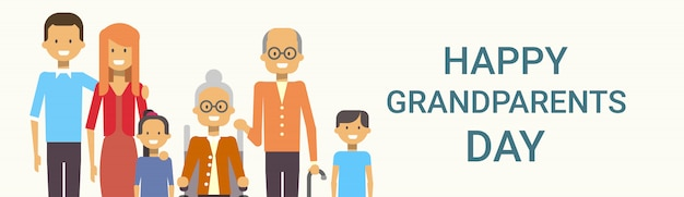Happy grandparents day greeting banner big family together