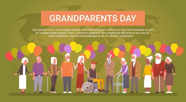 Happy grandparents day greeting card banner mix race group of senior people over world map