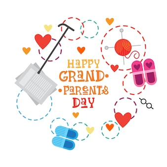Happy grandparents day greeting card banner