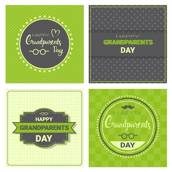 Happy grandparents day greeting card banners set