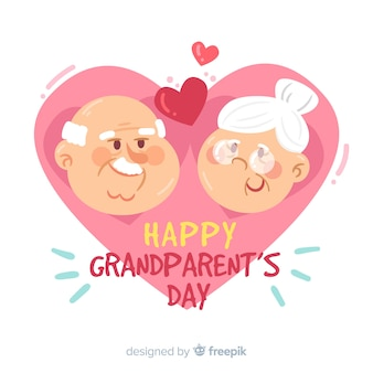 Happy grandparents day greeting card with cute grandfather and grandmother characters