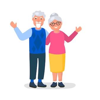 웃는 할아버지와 할머니 벡터 일러스트와 함께 해피 조부모의 날 인사말