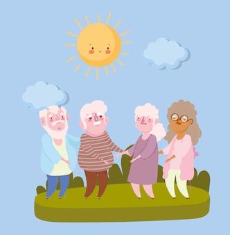 행복한 조부모의 날. 공원에서 노인 할아버지와 할머니의 그룹