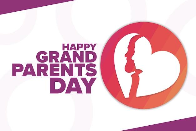 해피 조부모의 날. 휴일 개념입니다. 배경, 배너, 카드, 텍스트 비문이 있는 포스터용 템플릿입니다. 벡터 eps10 그림입니다.
