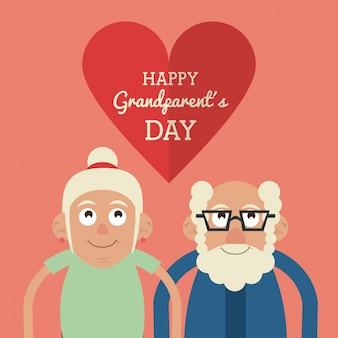 안경에 수염과 마음과 그에게 행복한 조부모의 날