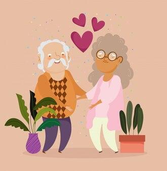 행복 조부모의 날, 냄비와 마음 그림에서 식물을 가진 오래 된 커플