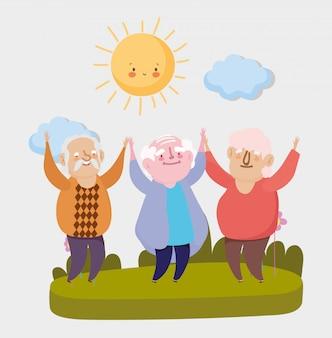 행복한 조부모의 날. 공원에서 축하 노인 프리미엄 벡터