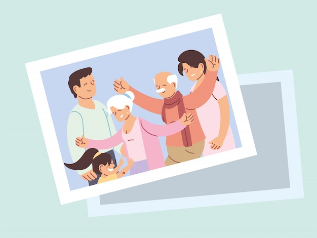 Happy grandparents day poster with photo of happy family