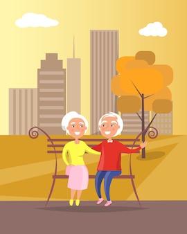 Happy grandparents day senior couple on bench