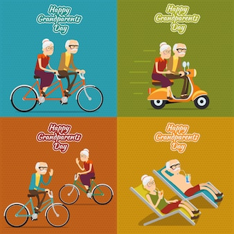 Happy grandparents day square background set