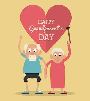 부부와 그녀의 지팡이를 올리는 행복한 조부모의 날