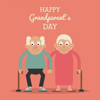 노인 부부와 지팡이와 함께 행복 한 조부모의 날