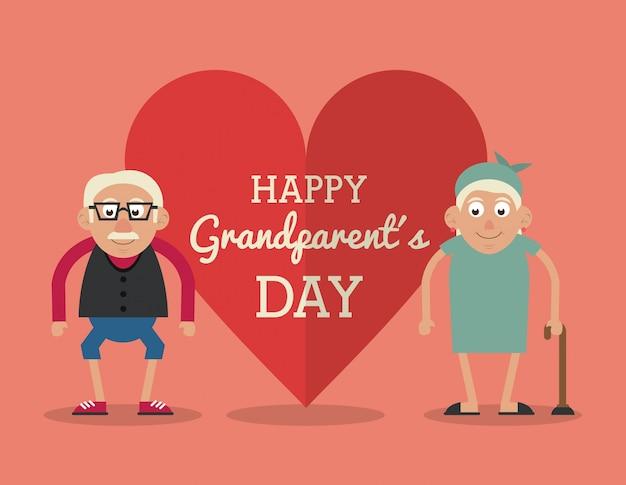 노인 부부와 함께 행복 조부모의 날과 지팡이와 그녀
