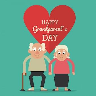 노인 부부와 함께 행복 조부모의 날과 지팡이