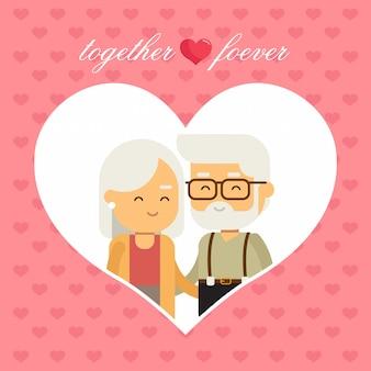Happy grandparents in heart