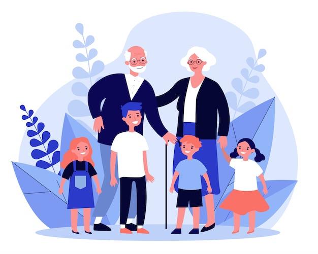 Happy grandparents spending leisure time with grandchildren