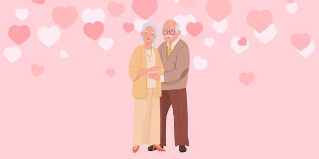 Happy grandparents stand and hug each other vector