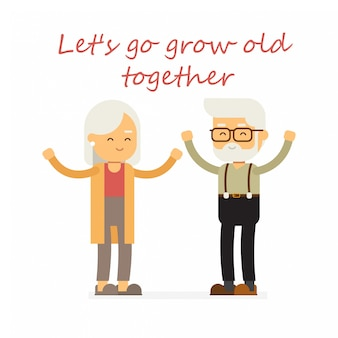 Happy grandparents vector cartoon illustration for design, happy valentines day.