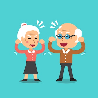 Happy grandparents vector cartoon illustration