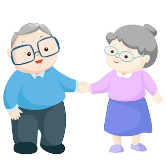 Happy grandparents vector illustration.