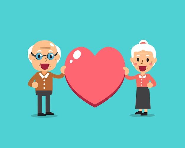 Happy grandparents with big heart sign vector cartoon illustration