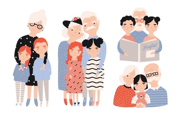 Счастливые бабушки и дедушки с набором внуков. коллекция рисованной мультяшных иллюстраций.