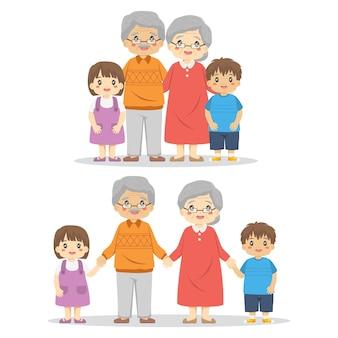 손자와 함께 행복 한 조부모