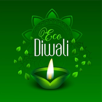 Happy green eco diwali leaves illustration