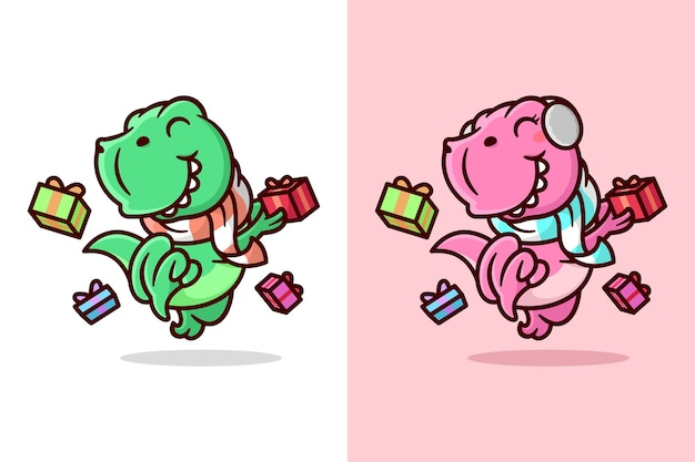 An happy green and pink dino jumping with christmas present