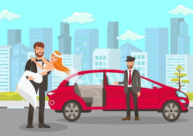 Happy groom holds bride on hands illustration