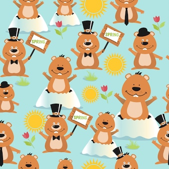 Happy groundhog day design seamless pattern with groundhogs.