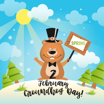 Happy groundhog day design with cute groundhog.
