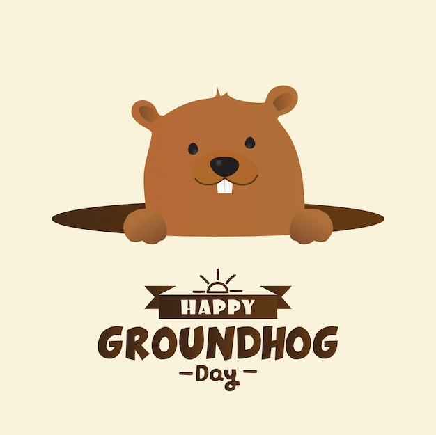 Happy groundhog day design with cute marmot character