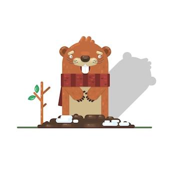 Happy groundhog day with groundhog