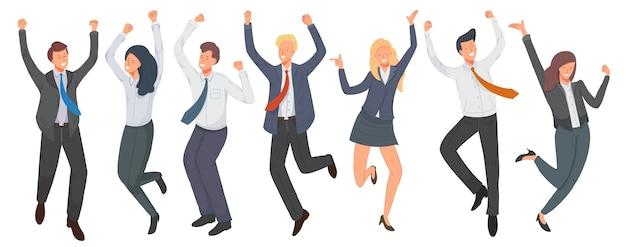 ジャンプするサラリーマンの幸せなグループ。勝利を祝う陽気な従業員。